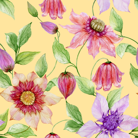 Beautiful clematis flowers on climbing twigs against yellow background. Seamless floral pattern. Watercolor painting. Hand painted illustration. Fabric, wallpaper design.