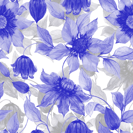 Transparent purple clematis flowers on climbing twigs against white background. Seamless floral pattern. Watercolor painting. Hand painted illustration. Fabric, wallpaper design.