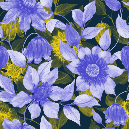 Transparent purple and yellow clematis flowers on climbing twigs against dark background. Seamless floral pattern. Watercolor painting. Hand painted illustration. Fabric, wallpaper design.