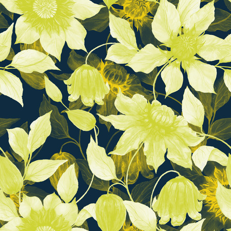 Transparent yellow clematis flowers on climbing twigs against black background. Seamless floral pattern. Watercolor painting. Hand painted illustration. Fabric, wallpaper design. Stock fotó