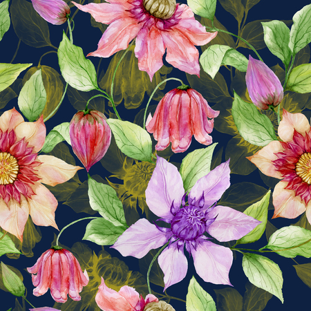 Beautiful clematis flowers on climbing twigs against dark blue background. Seamless floral pattern. Watercolor painting. Hand painted illustration. Fabric, wallpaper design. Stock Photo