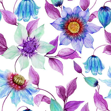 Transparent clematis flowers on climbing twigs against white background. Seamless floral pattern. Watercolor painting. Hand painted illustration. Fabric, wallpaper design.