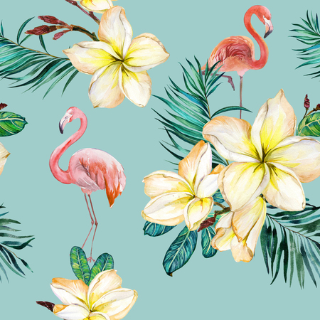 Beautiful flamingo and yellow plumeria flowers on blue background. Exotic tropical seamless pattern. Watecolor painting. Hand painted illustration. Wallpaper, fabric design. Stock Photo
