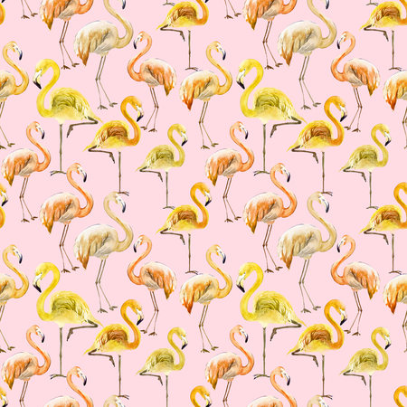 Beautiful yellow and orange flamingo on pink background. Exotic seamless pattern. Watercolor painting. Hand drawn and painted illustration. Fabric, wallpaper design.