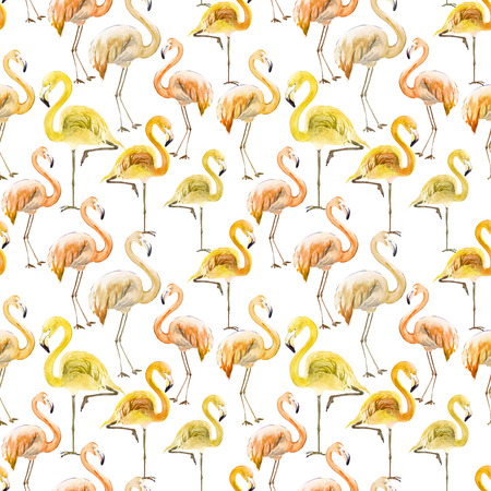 Beautiful yellow and orange flamingo on white background. Exotic seamless pattern. Watercolor painting. Hand drawn and painted illustration. Fabric, wallpaper design.
