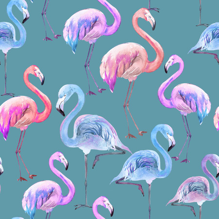 Beautiful colorful flamingo on blue background. Bright exotic seamless pattern. Watercolor painting. Hand drawn and painted illustration. Fabric, wallpaper design.