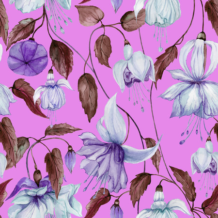 Beautiful fuchsia flowers on climbing twigs on bright pink background. Seamless floral pattern. Watercolor painting. Hand painted illustration. Fabric, wallpaper design.