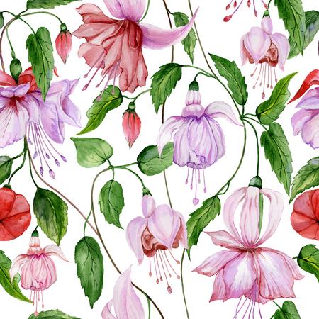 Schöne Fuchsienblumen auf Kletterzweigen auf weißem Hintergrund. Nahtloses Blumenmuster. Aquarellmalerei. Handgemalte Illustration. Stoff, Tapete, Geschenkpapier Design.