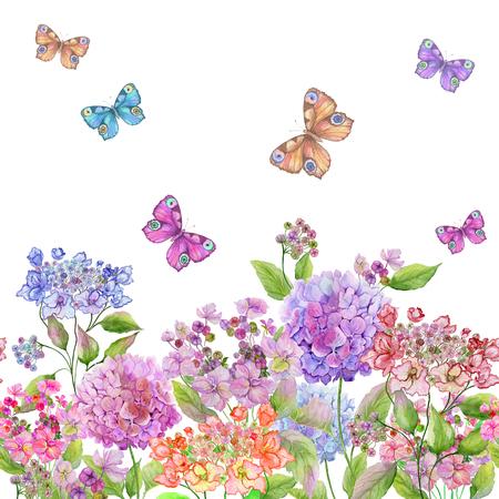 Schöne weiche Hortensienblumen und bunte Schmetterlinge auf weißem Hintergrund. Quadratische Vorlage. Nahtloses Blumenmuster. Aquarellmalerei. Handgemalte Sommerillustration.