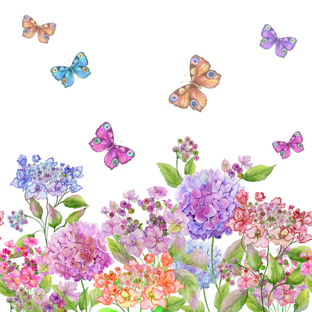 Beautiful soft hydrangea flowers and colorful butterflies on white background. Square template. Seamless floral pattern. Watercolor painting. Hand painted summer illustration.