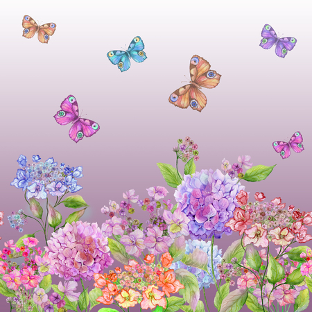 Beautiful soft hydrangea flowers and colorful butterflies on gradient pink background. Square template. Seamless floral pattern. Watercolor painting. Hand painted summer illustration.