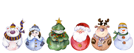 Set of Christmas characters (Santa, Snow Maiden, snowman, reindeer, polar bear, Christmas tree) isolated on white background. Watercolor painting. Hand painted. Can be used as pattern or greeting card Stock Photo