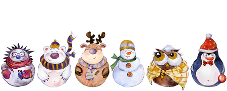 Set of Christmas characters (snowman, reindeer, polar bear, owl, hedgehog, penguin) isolated on white background. Watercolor painting. Hand painted. Can be used as pattern or greeting card