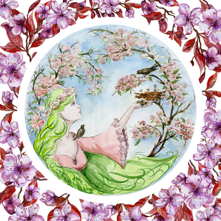 Beautiful young woman with long green hair saves a baby bird that has fallen from the nest against spring trees in blossom. Seasonal watercolor illustration. Hand painted image. Greeting card.