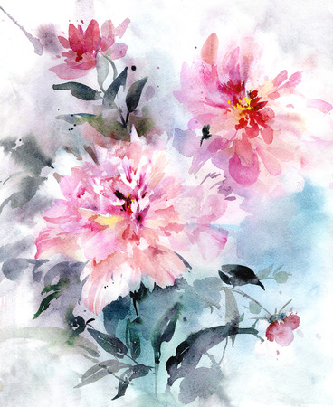 Beautiful bouquet of pink peonies with leaves on blue background. Watercolor painting. Hand painted illustration.