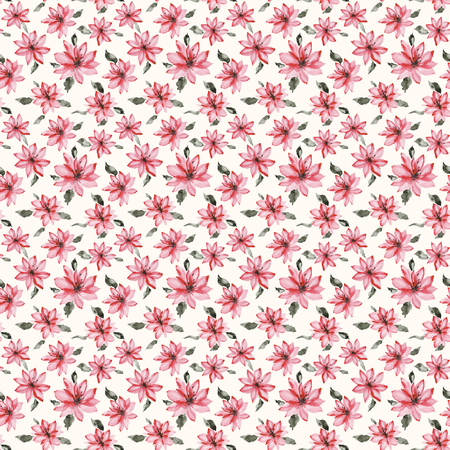 Beautiful small pink flowers with leaves on white background. Seamless floral pattern.  Watercolor painting. Hand painted botanical illustration. Wallpaper, textile design. Stock fotó - 117402079