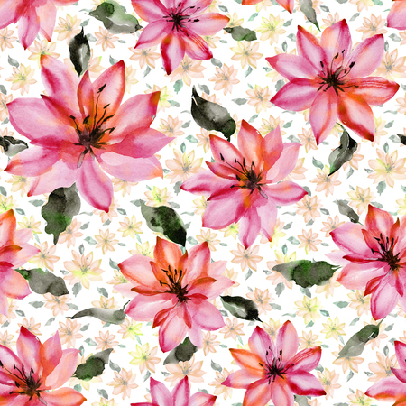 Beautiful pink flowers with leaves on white background. Seamless floral pattern.  Watercolor painting. Hand painted botanical illustration. Wallpaper, textile design. Stock fotó