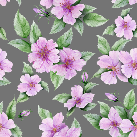 Beautiful rose hip flowers with leaves on gray background. Seamless floral pattern.  Watercolor painting. Hand painted botanical illustration. Wallpaper, textile design.