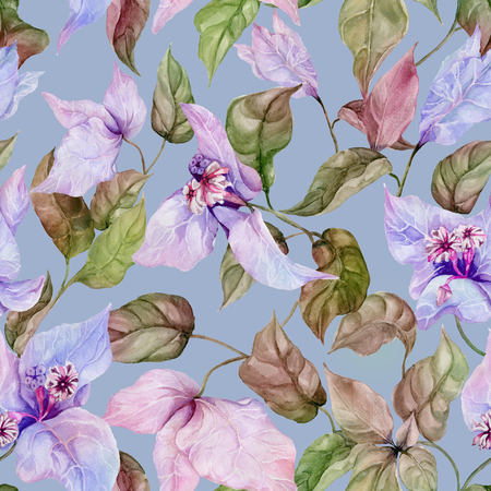 Beautiful bougainvillea flowers on climbing twigs on blue background. Seamless floral pattern. Watercolor painting. Hand painted illustration. Fabric, wallpaper, wrapping paper design. Foto de archivo - 117397581