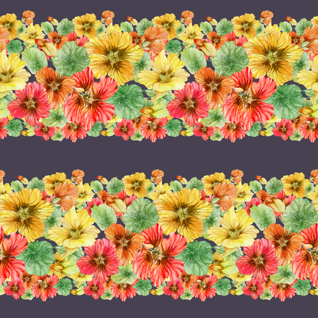 Beautiful nasturtium flowers with green leaves on dark background. Seamless floral pattern. Horizontal border. Watercolor painting. Hand drawn and painted illustration. Fabric, wallpaper desigh.