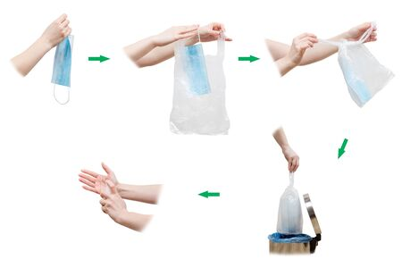 Step by step algorithm for correct mask utilization in the context of pandemic. Woman puts used face safety mask in plastic bag, ties it, throws it away into trash bin and uses sanitizer for her hands