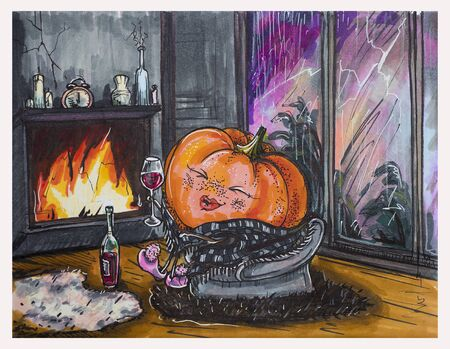 pumpkin sits in front of a fireplace and drinks wine during a thunderstorm outside the window