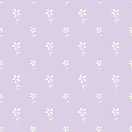 Simple purple and white floral repeat pattern design