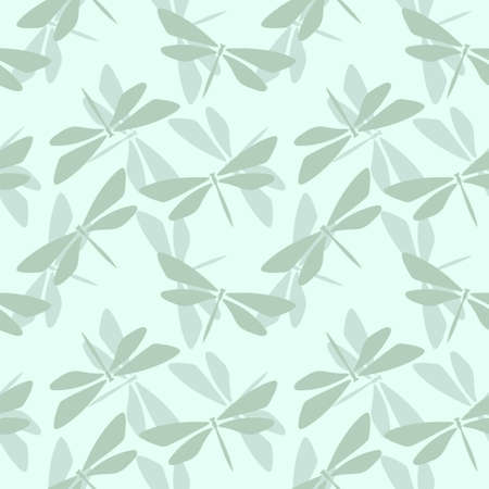 Pastel green seamless repeat pattern with dragonfly elements.