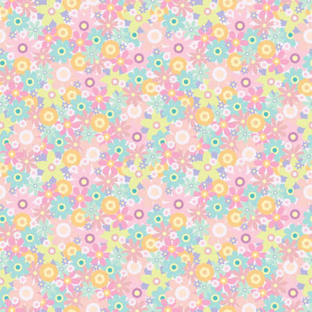 Geometric colorful floral repeat pattern design. Simple fun repeat pattern whit flowers.