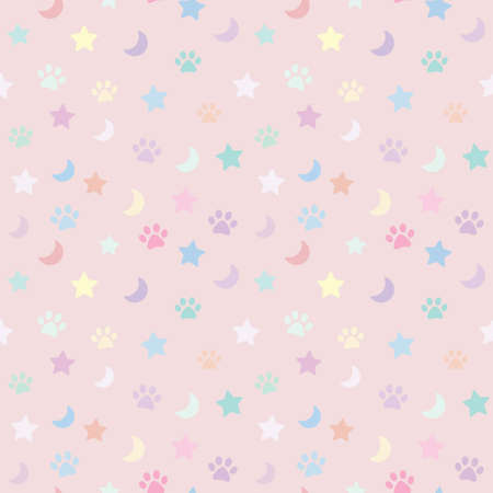 Colorful repeat pattern design in pastel colors whit paws moon and stars. Cute pattern for pets.