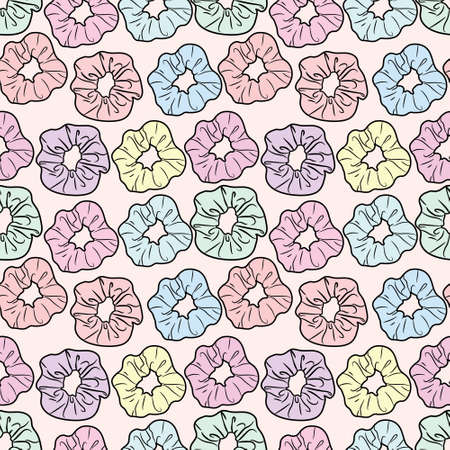 Seamless repeat pattern design with colorful scrunchies. Trendy background with hair tie elements.