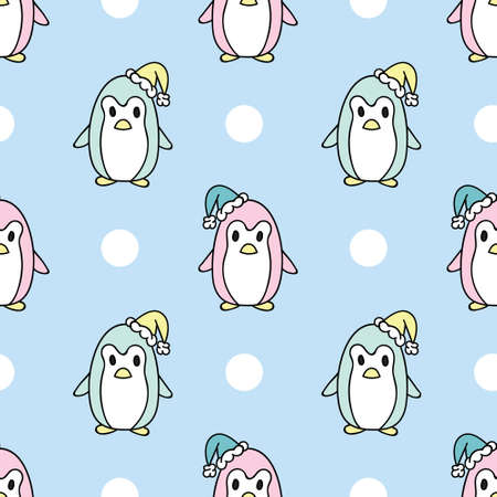 Cute penguins, cartoon repeat pattern Christmas design, vector background. Cute colorful and simple animal winter pattern.