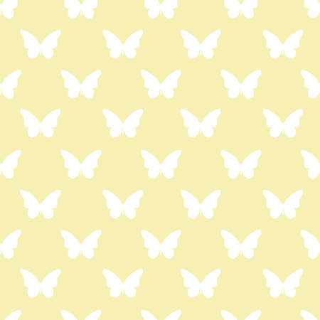 Yellow and white butterfly repeat pattern seamless. Silhouette butterfly. Vector background.