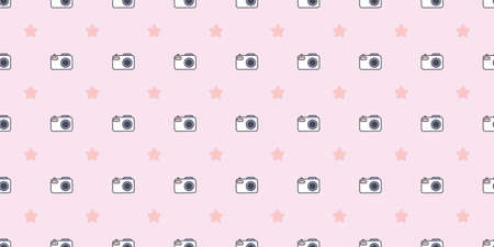 Camera and stars, photography seamless repeat pattern vector background, wallpaper design.