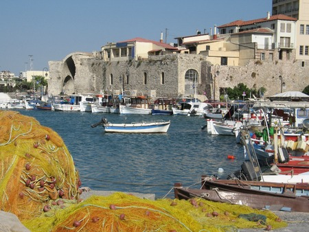 Heraklion port and harbour in island of Crete, Greece photo