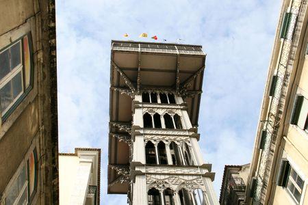 ascensor: elevator of Santa Justa in Lisbon