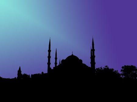 Silhouette de la Mosquée bleue à Istanbul en lumière bleue