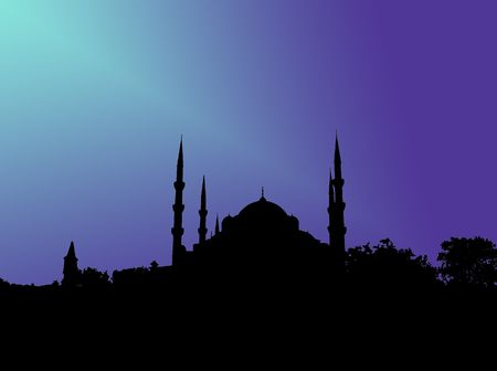 blue mosque: Silhouette of Blue mosque in Istanbul in blue light Stock Photo