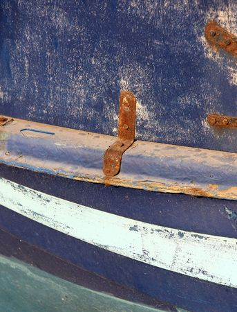 Old wooden background - detail of old colored boat in Greece photo