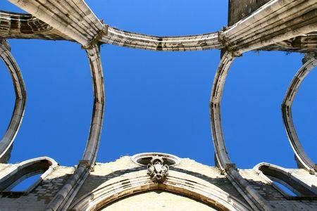 Open roof construction of Igreja do Carmo ruins in Lisbon, Portugal  photo