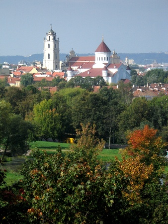 Panorama of old town of Vilnius, capital of Lithuania with belfry of St. John photo