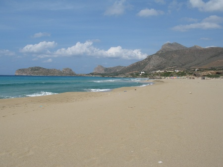 most: View of empty Falasarna beach. One of the most beautiful stretched sandy beaches in western Crete. Stock Photo