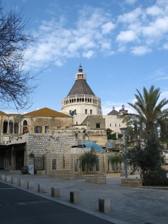 nazareth: Church of the Annunciation in  Nazareth, Israel . it was established in the place where, according to Roman Catholic tradition, the Annunciation took place.
