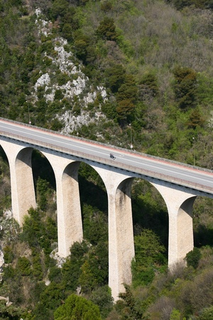 maritimes: Bridge in the mountains near Eze Village, a little ancient village in France in Alpes Maritimes  Stock Photo