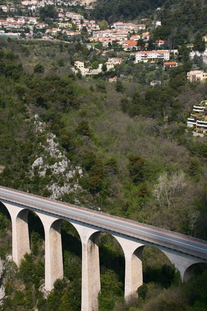 alpes maritimes: Bridge in the mountains near Eze Village, a little ancient village in France in Alpes Maritimes  Stock Photo