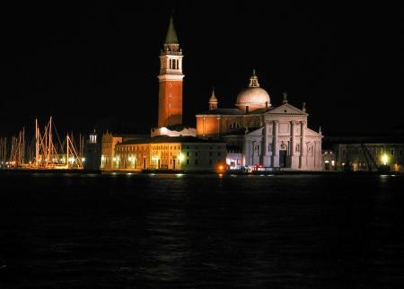 Night view of San Giorgio Maggiore in Venice, Italy photo