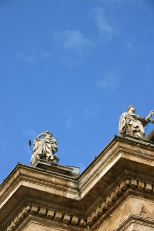 Two statues - detail of Saint of Saint Peter church in Vatican, Rome photo
