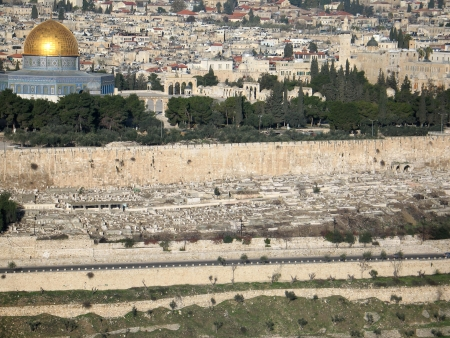 View of Jerusalem from mountain of Olives, (Israel) with isolated sky photo