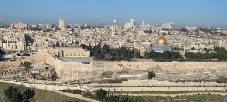 Panoramic view of Jerusalem from mountain of Olives, Israel
