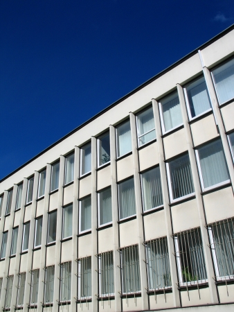 Detail of administration building with blue sky in Vilnius, Lithuania